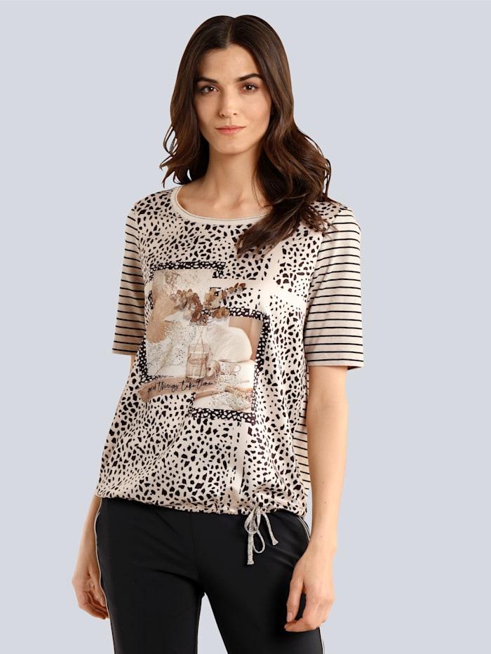 OUI Shirt im farbharmonischen Druck, Grau/Camel