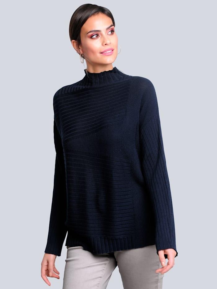 Alba Moda Pullover in komfortabler Oversized-Form, Marineblau