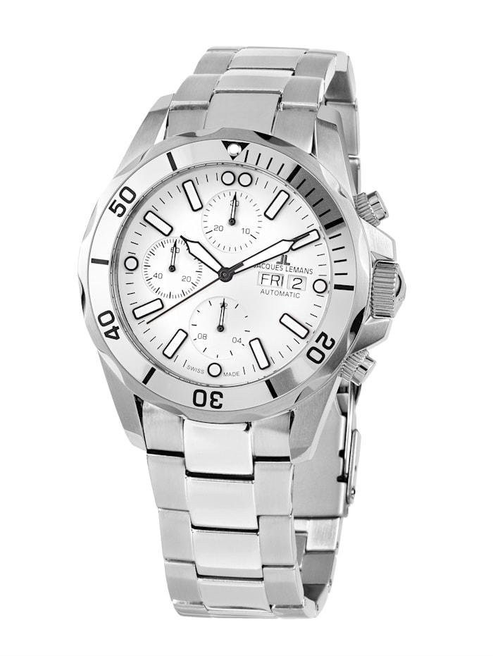 Jacques Lemans Herren-Uhr-Automatik-Chronograph Serie: Liverpool Automatic, Kollektion: Classic: 1- 1926F, Silberfarben