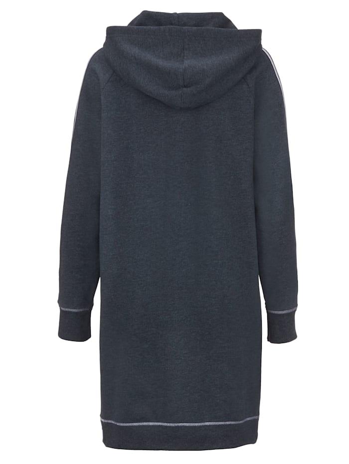 Lång hoodie med vävda band på ärmarna