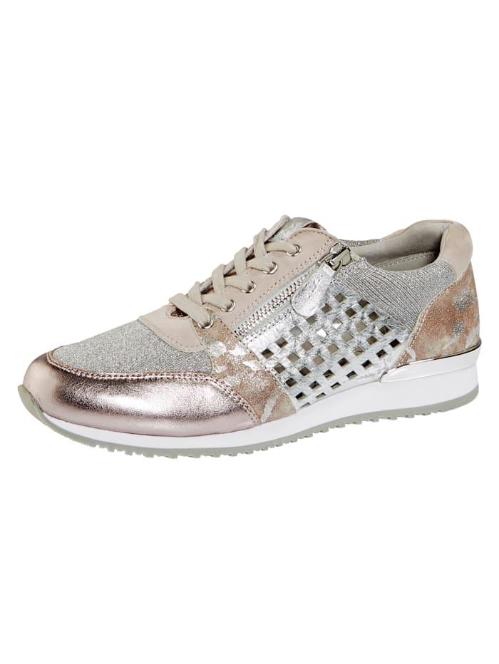 Caprice Sneaker met zomerse openingen, Oudroze/Zilverkleur