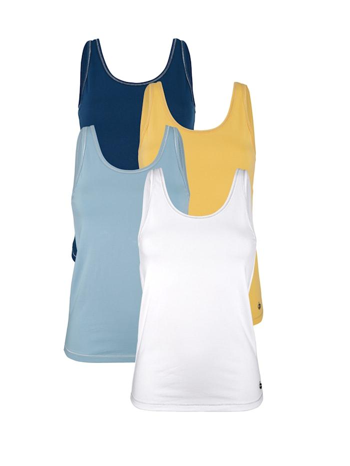 Blue Moon Achselhemden mit Lurexzierstich, Blau/Gelb/Marineblau/Weiß