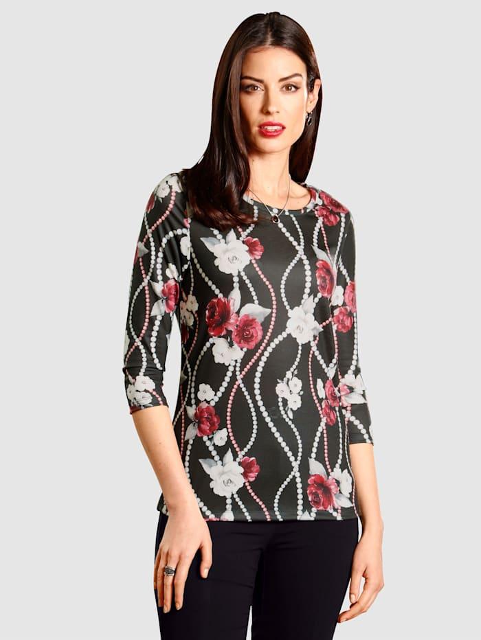 Paola T-shirt à imprimé sérigraphié tendance, Noir
