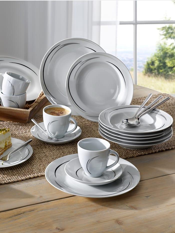 Van Well Service de table 12 p. 'Home', Blanc/gris/noir