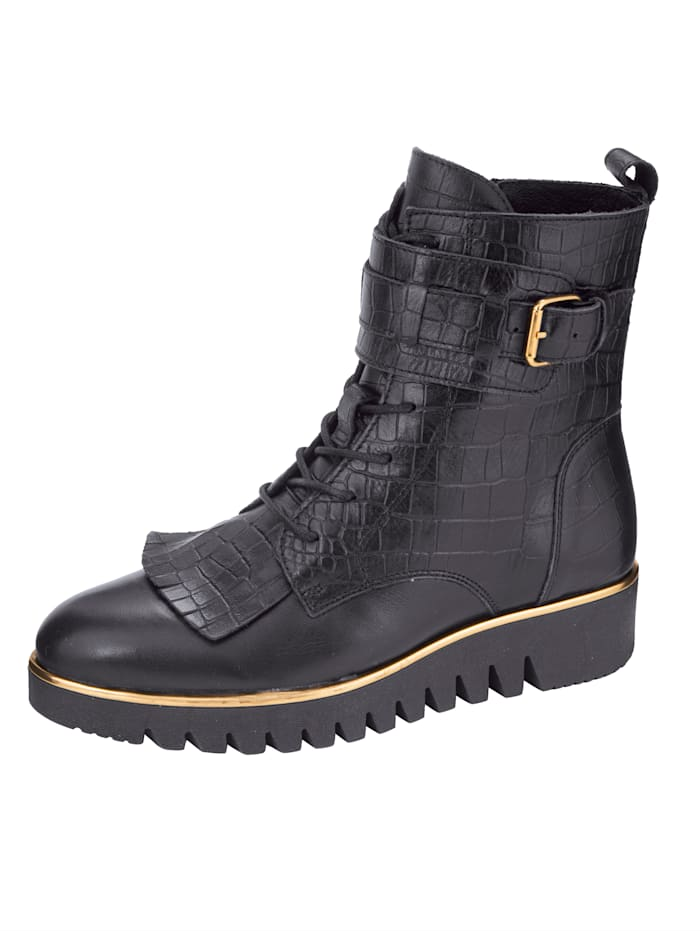 Filipe Shoes Bottines lacées d'aspect croco tendance, Noir
