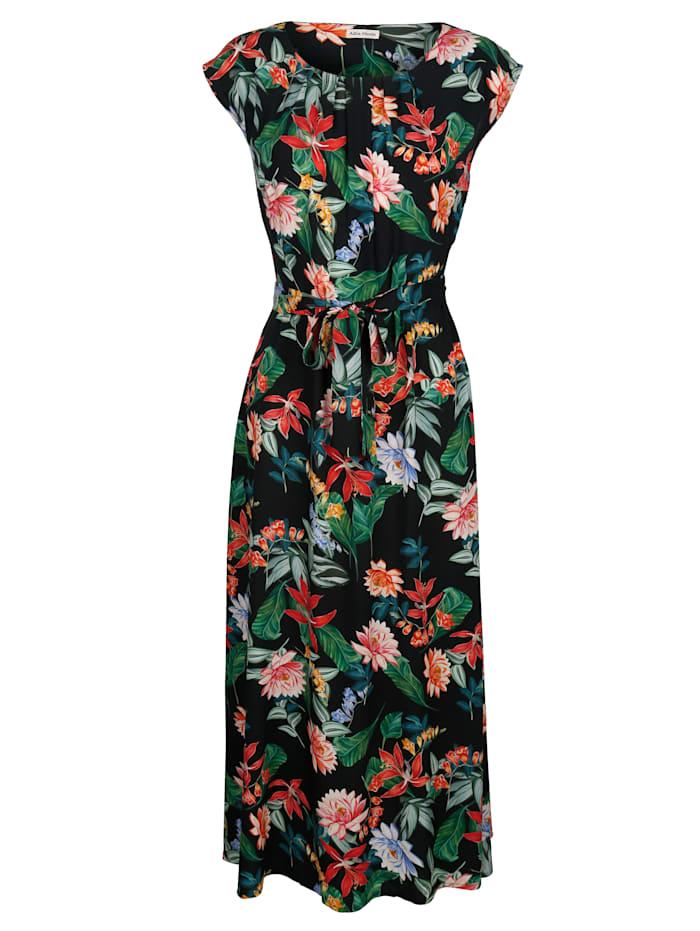 Alba Moda Strandkleid mit Blumendruck, Schwarz-Bunt