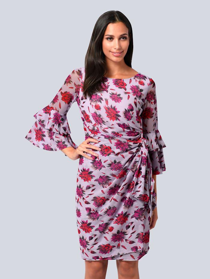 Alba Moda Kleid allover in bedruckter Mesh-Ware, Flieder