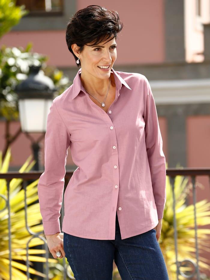 Paola Bluse mit klassischem Hemdkragen, Altrosa