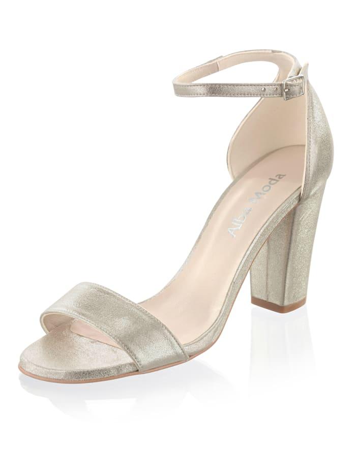 Alba Moda Sandalette aus hochwertigem Ziegenleder, Goldfarben