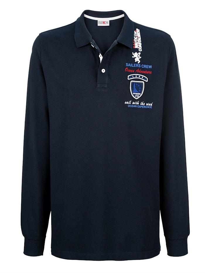 Roger Kent Poloshirt mit Stickerei und Emblem, Marineblau