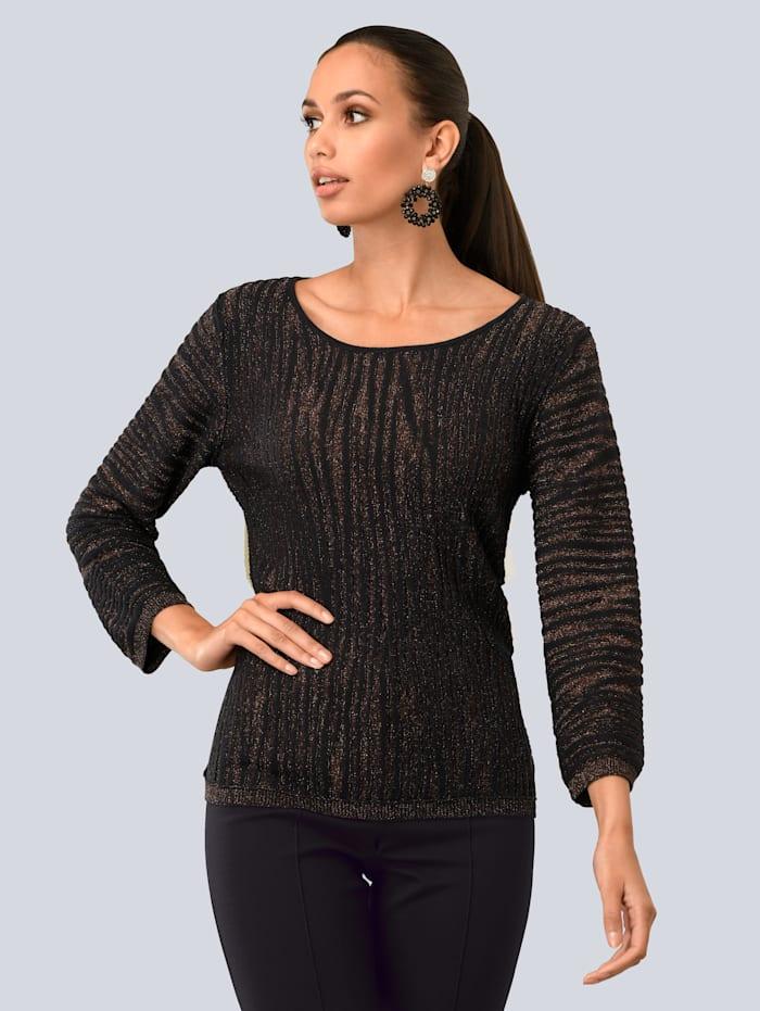 Alba Moda Pullover edel mit Glanzgarn, Schwarz/Kupferfarben
