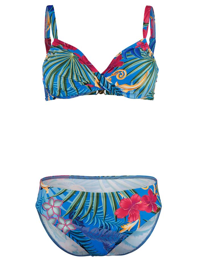 Sunflair Bikini met Hawaii-print, Nachtblauw