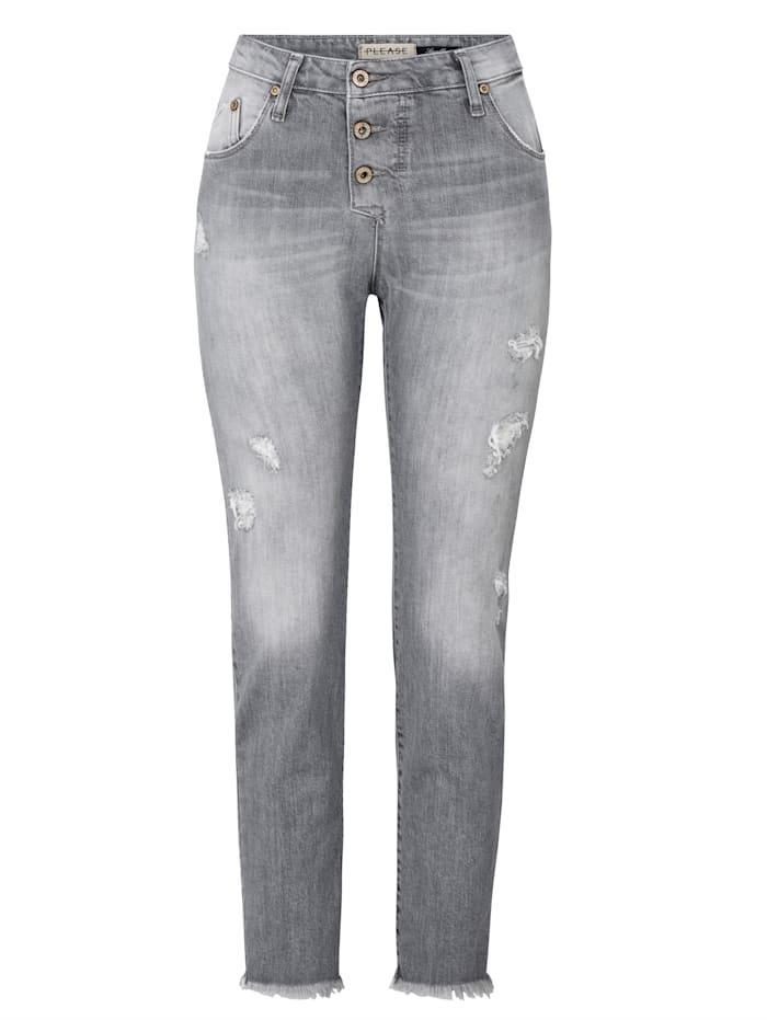 PLEASE Jeans im Used-Look, Hellgrau