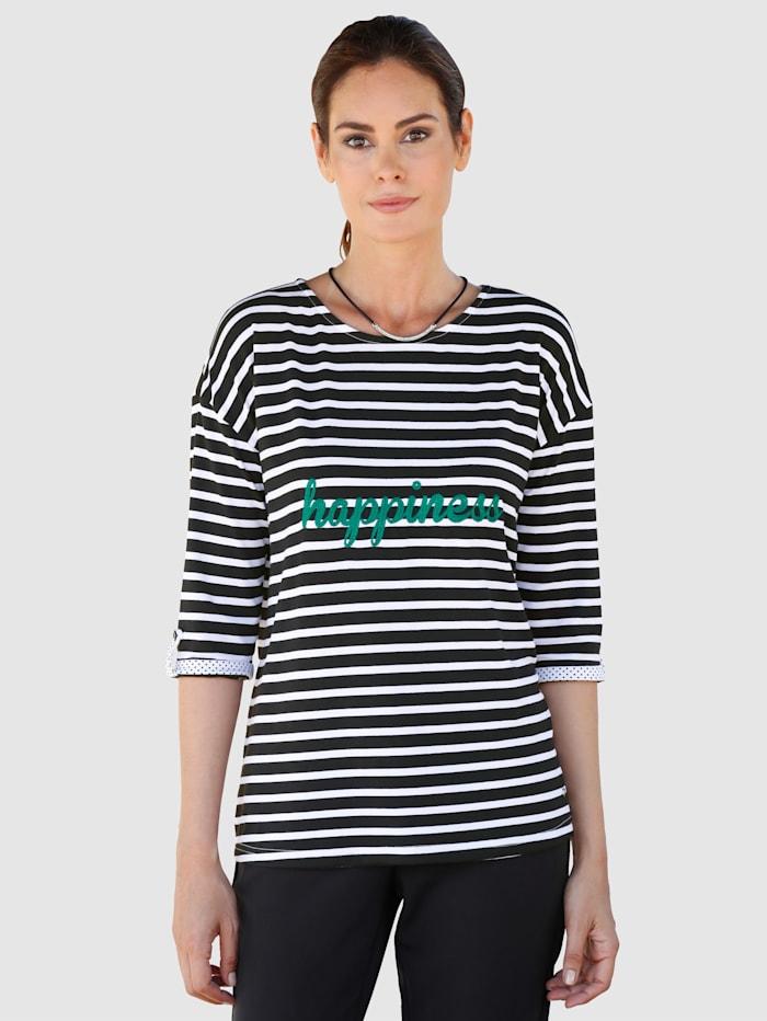 Laura Kent Shirt met sportief streepdessin, Zwart/Wit