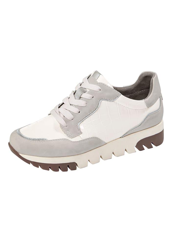 Liva Loop Sneaker met chic krokoreliëf, Crème
