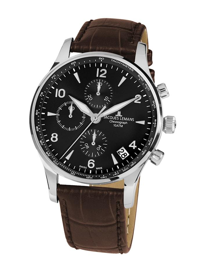 Jacques Lemans Herren- Uhr-Automatik-Chronograph Serie: London Automatic, Kollektion: Classic: 1- 1935A, Dunkelbraun
