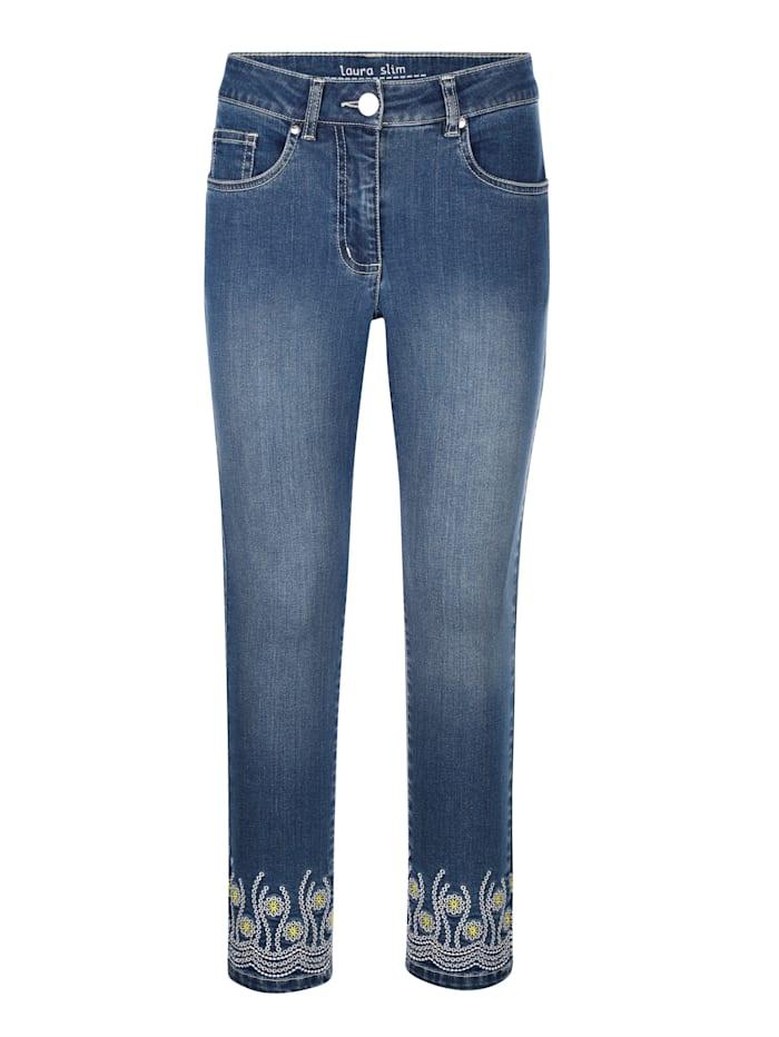 Jeans Laura Slim mit Kontraststickerei