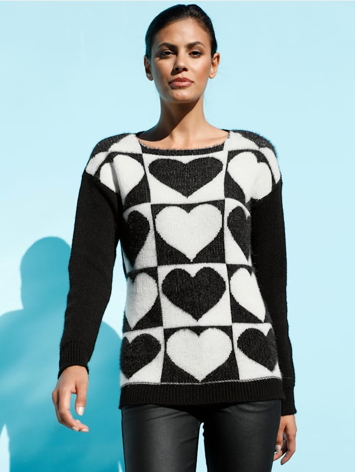AMY VERMONT Pullover mit Herz-Motiven, Schwarz/Weiß