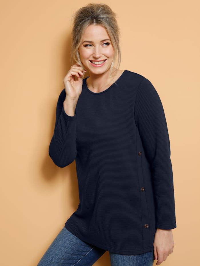 MIAMODA Sweatshirt mit Rundhalsausschnitt, Marineblau