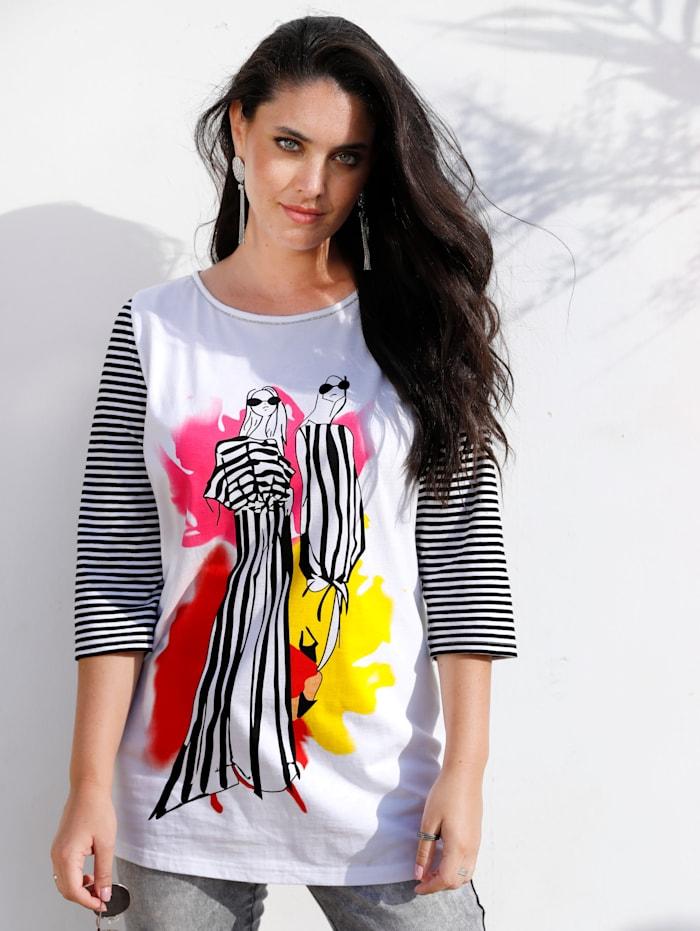 MIAMODA T-shirt à imprimé mode, Noir