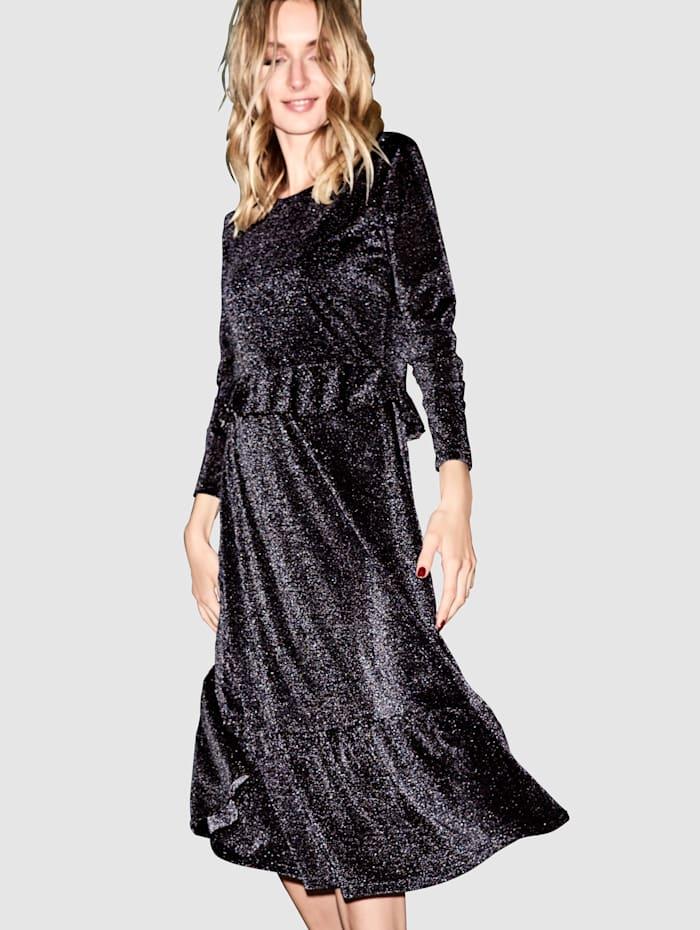 REKEN MAAR Jerseykleid mit Lurex, Schwarz/Silberfarben
