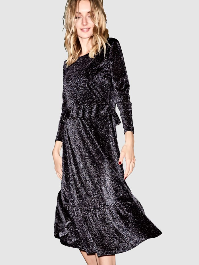 REKEN MAAR Robe en jersey à fil Lurex, Noir/Coloris argent