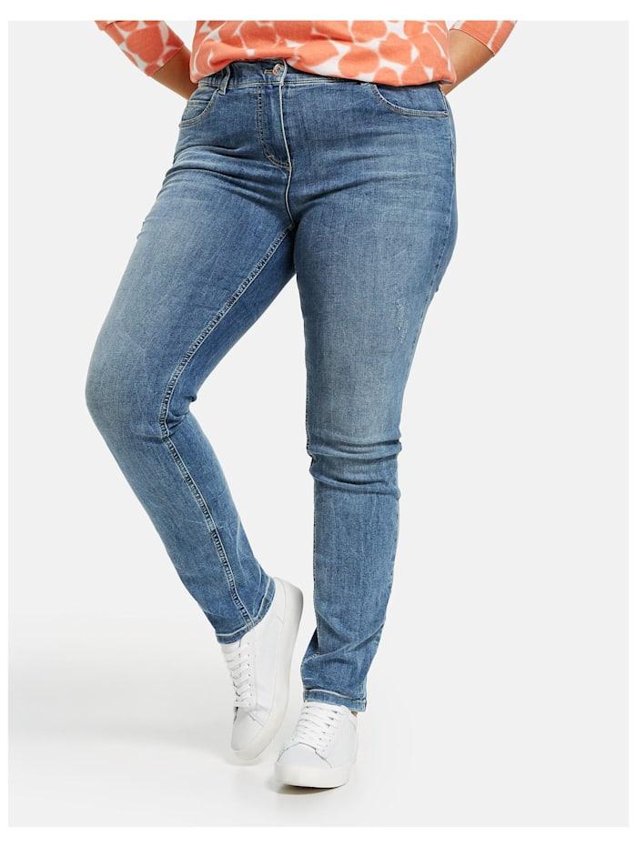 Samoon Betty Jeans mit dezentem Used-Effekt, Blue Denim