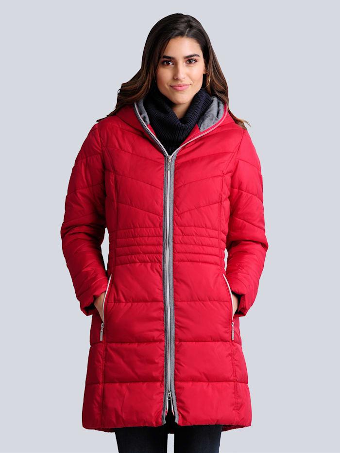 Alba Moda Gewatteerde jas met hoogsluitbare rits, Rood