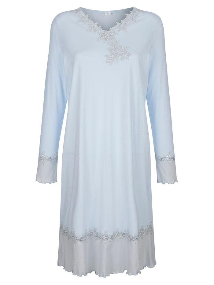Simone Nachthemd met geschulpte zoom en kanten details, Lichtblauw/Grijs
