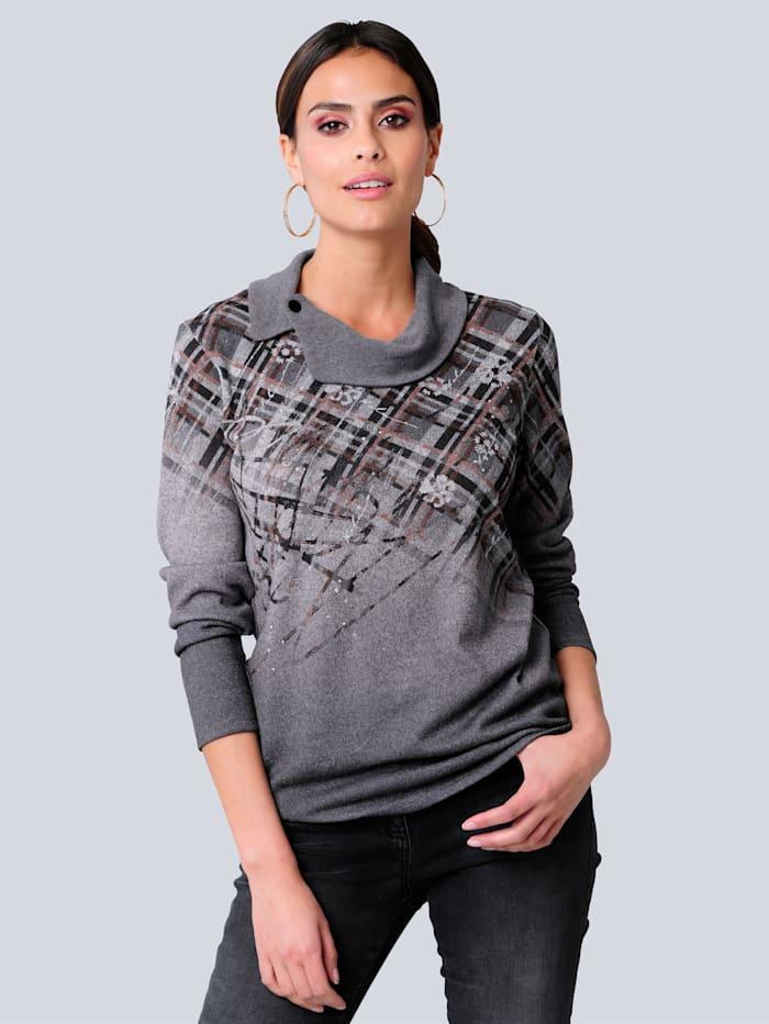 Alba Moda Shirt in Patch-Optik, Anthrazit/Bordeaux