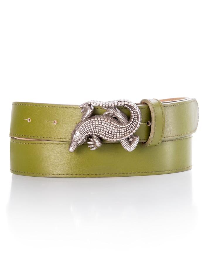 Alba Moda Skärp med spänne i form av en krokodil, khaki