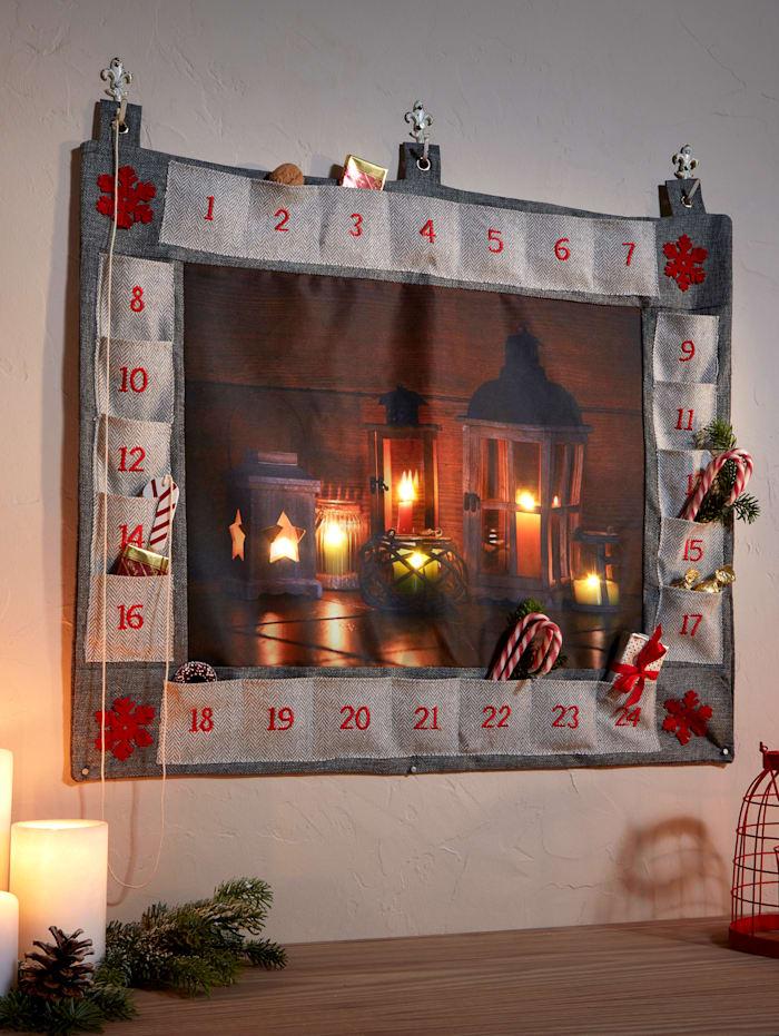 MyHome Adventskalender med LED-belsyning, Flerfärgad