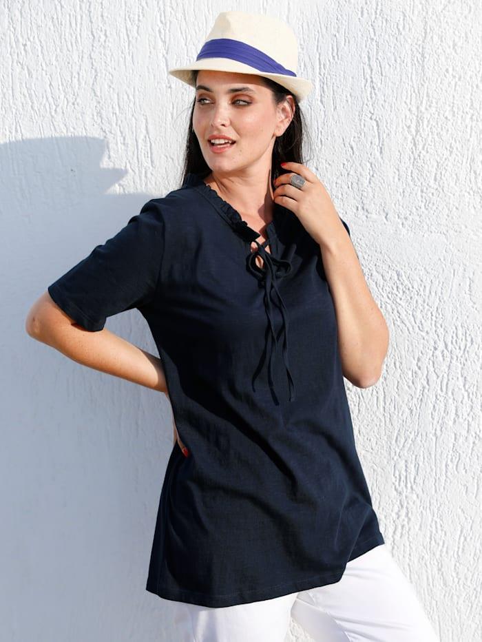 MIAMODA Shirt mit Bindebändern am Ausschnitt, Marineblau