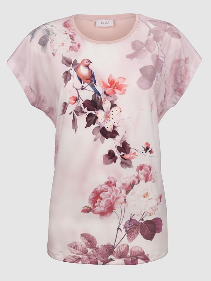 Etuosasta kukkapainettu paita