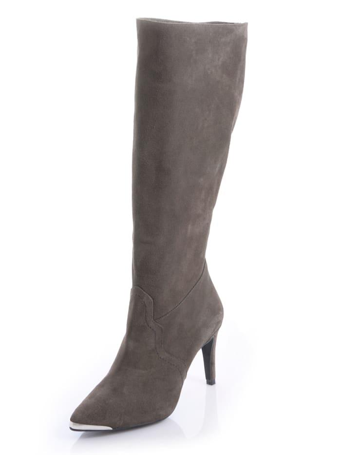 Alba Moda Stiefel mit metallischer Spitze, Grau