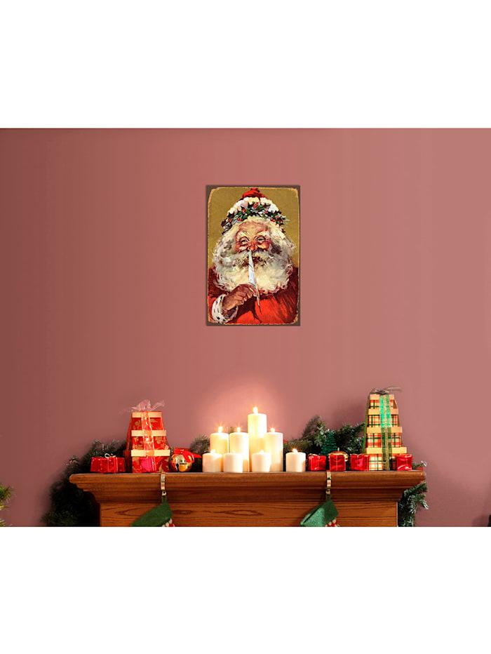 Metallschild, Santa