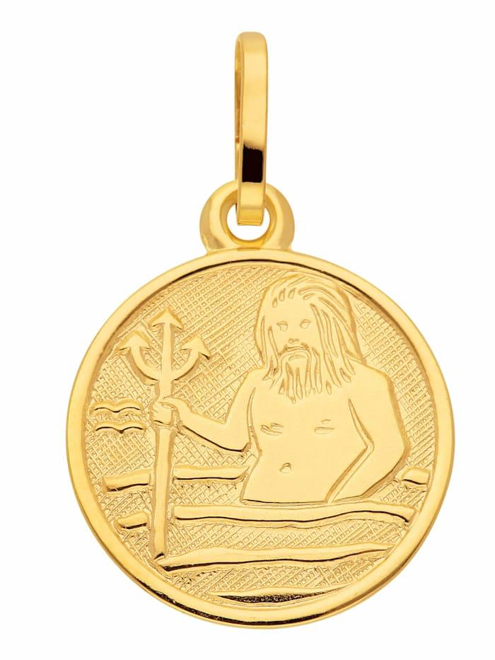 1001 Diamonds Damen & Herren Goldschmuck 333 Gold Sternzeichen Anhänger Wassermann Ø 11,8 mm, gold