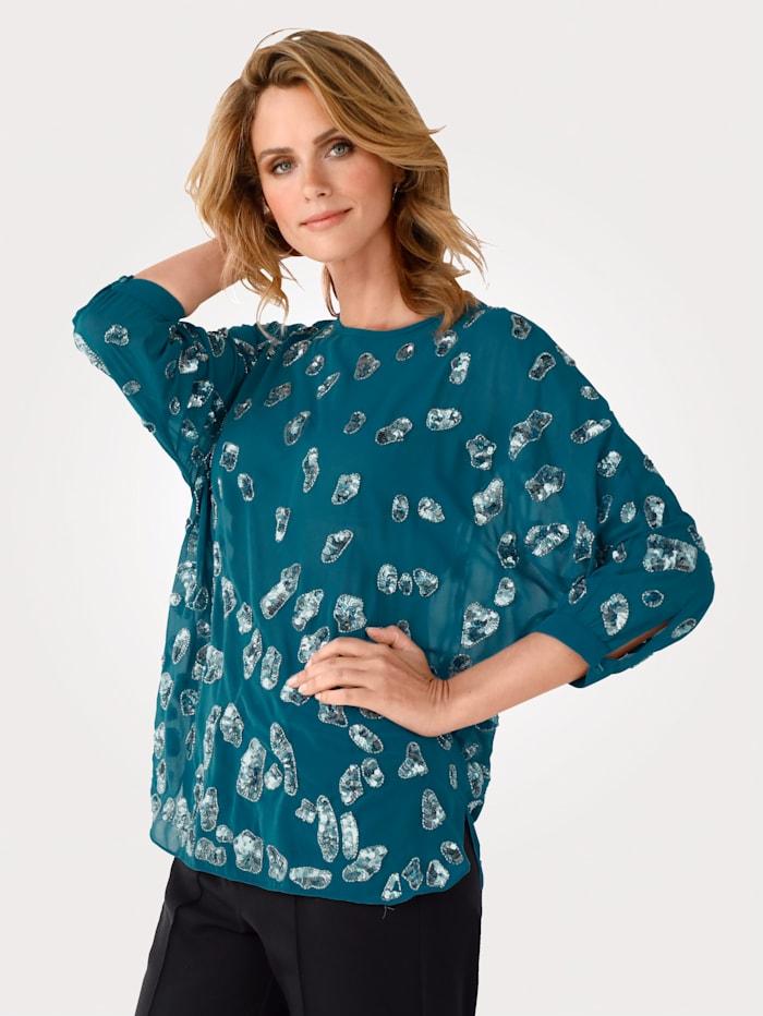 MONA Blouse avec perles et paillettes fantaisie, Turquoise/Coloris argent
