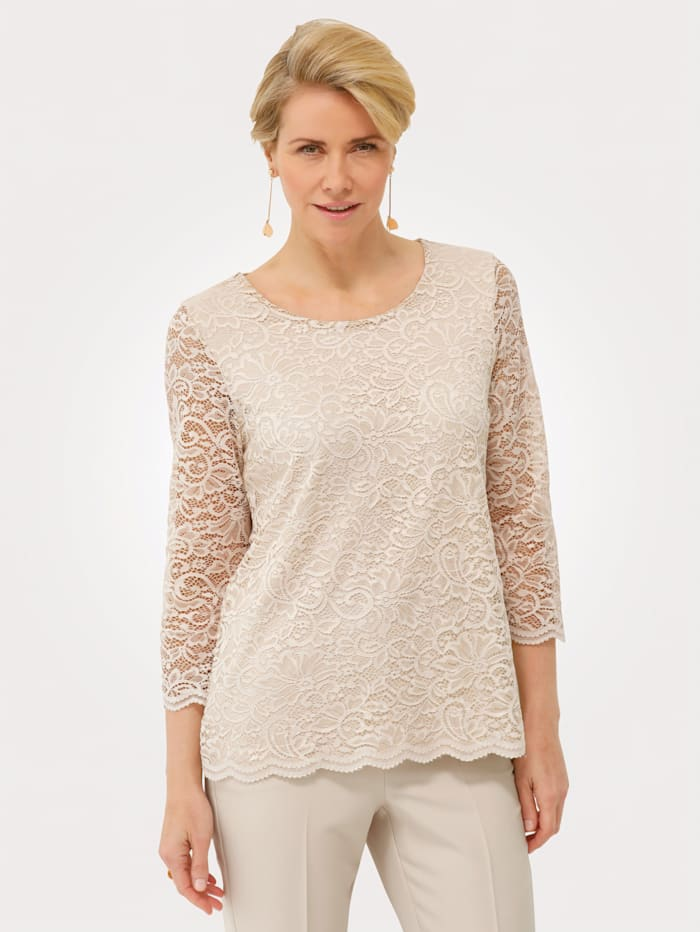 MONA Lace top made from a light fabric, Sand