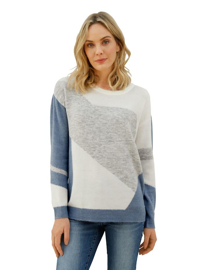 AMY VERMONT Pullover mit grafischem Muster, Grau/Off-white/Blau