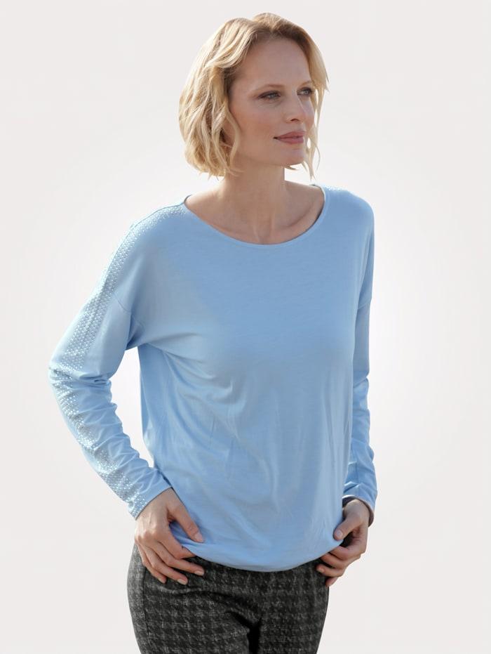 MONA T-shirt avec pierres strass fantaisie, Bleu ciel
