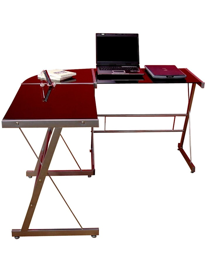 Möbel-Direkt-Online Eckschreibtisch Desk, Schwarzglas