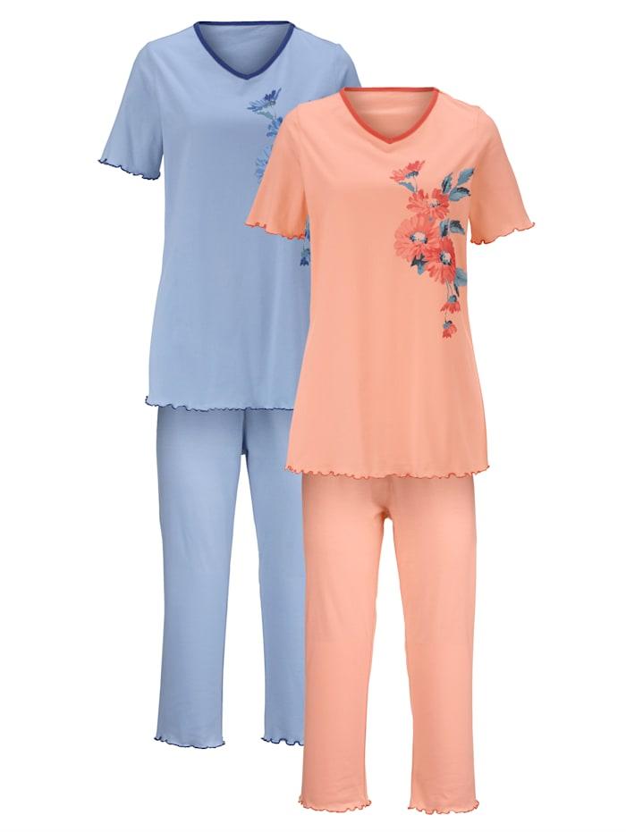 Harmony Pyjama's per 2 stuks met decoratieve contrastpaspels, Apricot/Lichtblauw