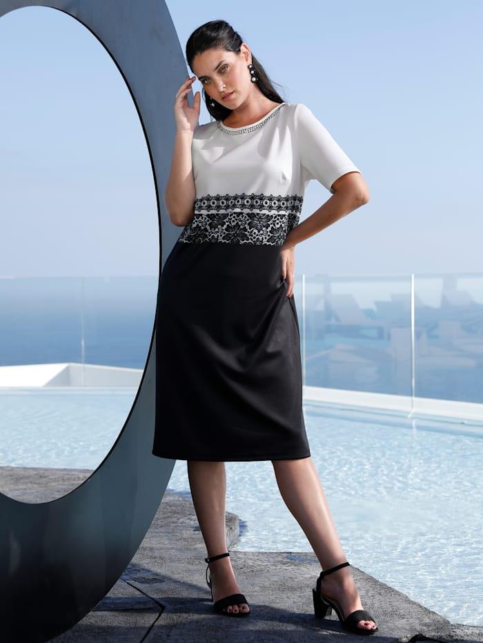 MIAMODA Kleid mit Spitzendruck an der Taille, Schwarz/Weiß