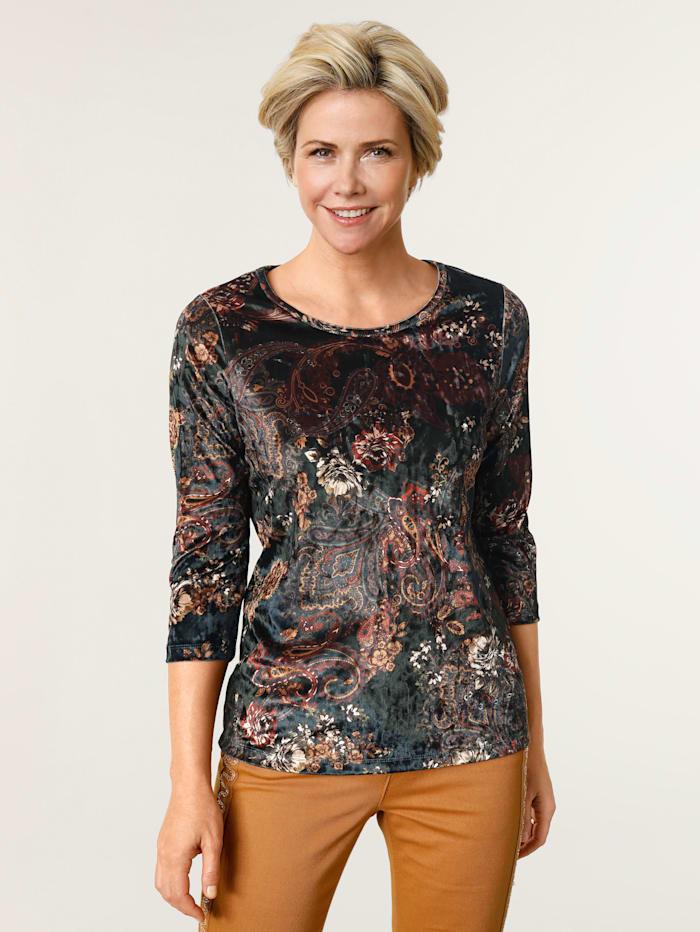 MONA Shirt aus feiner Samt-Qualität, Tannengrün/Marineblau/Bordeaux
