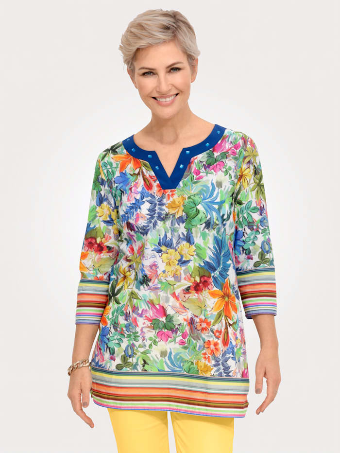 MONA Tunika mit eindrucksvollem Floral-Druck, Royalblau/Multicolor