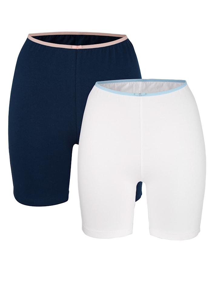 Blue Moon Long Pantys mit Zierschleife, Weiß/Marineblau