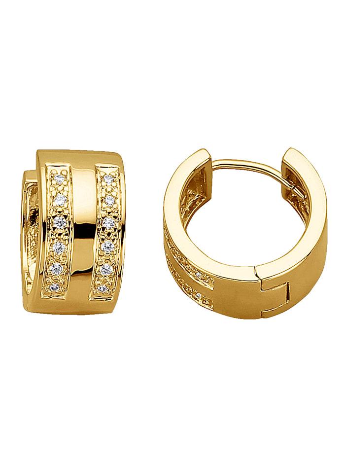 Golden Style Klappcreolen mit Zirkonia, Gelb
