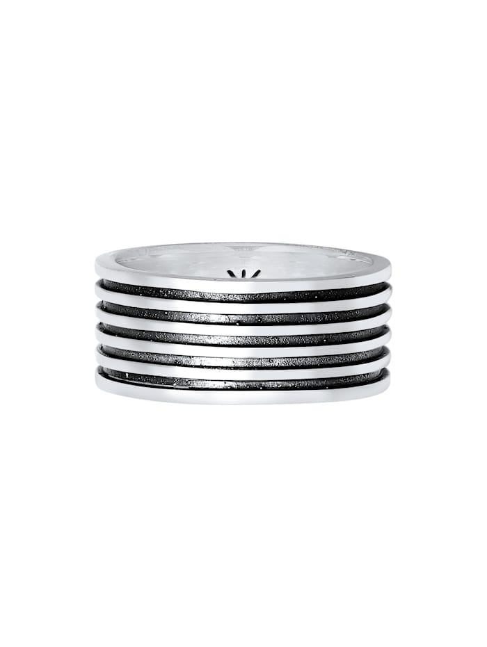 Ring Herren Bandring Massiv Rillen 925 Silber
