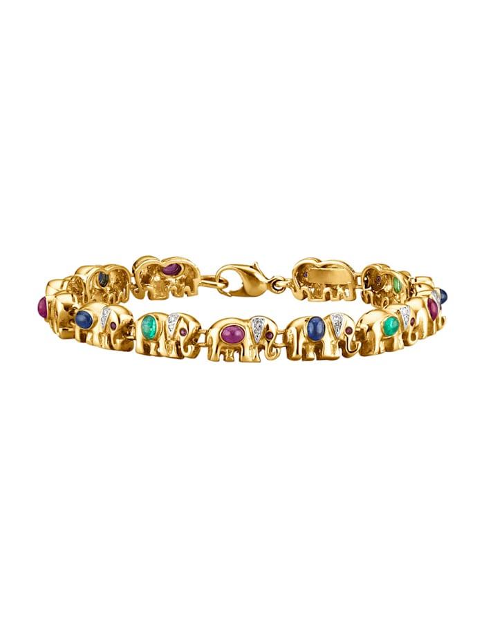Amara Farbstein Elefanten-Armband in Gelbgold, Multicolor